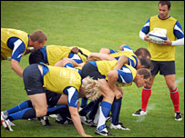 France's forwards work on their scrummaging in training