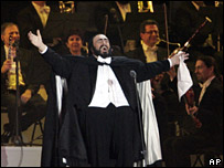 Pavarotti at the opening of the Winter Olympics in Turin, 2006