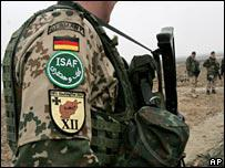 File photograph of German soldier serving with International Security Assistance Force in Afghanistan