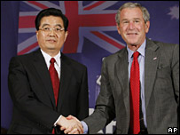 President Bush, right, and Chinese President Hu Jintao