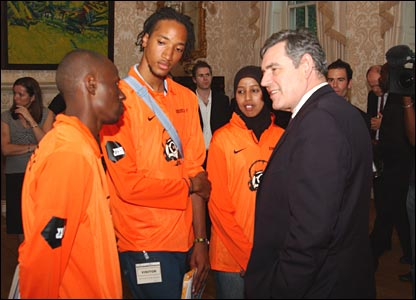 Terence Wallen, Kyle Stewartand Zaynab Ahmed with Gordon Brown
