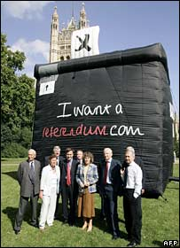 Supporters of the campaign in front of an inflatable ballot box