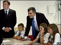 Ed Balls and Gordon Brown at the new school