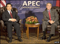 Presidents Hu and Bush. Image: AFP