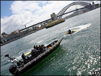 Police in Sydney Harbour. Image: AFP