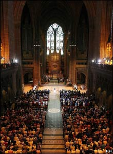 Mourners inside Liverpool Anglican Cathedral