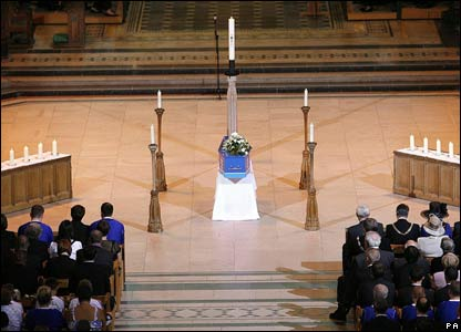Rhys's coffin in Liverpool Anglican Cathedral