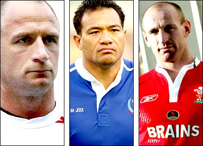 Mike Catt (left), Brian Lima (centre), Gareth Thomas (right)