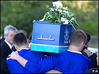 Rhys Jones' coffin being carried to the cathedral
