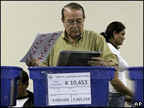 An election worker checks voting material s in Guatemala