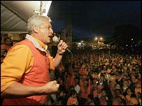 Otto Perez Molina of the Patriotic Party addresses supporters