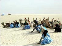 Tuareg with camels