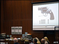 Phil Spector's gun, shown in court