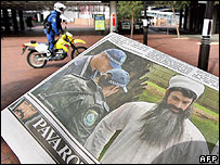 Australian newspaper The Daily Telegraph carrying a front page picture of a TV crew member dressed as Osama bin Laden - 07/09/07