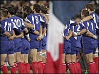 The French team line up for their national anthem