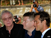 Sir Michael Caine (l), Kenneth Branagh and Jude Law, at Venice