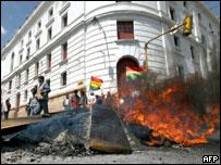 Manifestación estudiantil en Sucre