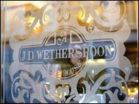 A JD Wetherspoon pub window