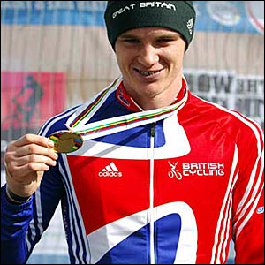 David Fletcher shows off his bronze medal