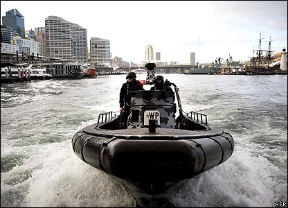 Police patrolling Sydney harbour in a zodiac inflatable
