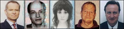 Passport photos of Jeffrey Archer, Alain de Botton, Kate Nash, Terry Gilliam and David Cameron