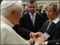 Kate and Gerry McCann with Pope Benedict