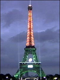 The Eiffel Tower was lit up to celebrate the start of the tournament