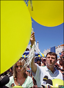 Kate and Gerry McCann releasing balloons
