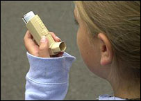 Girl using a steroid inhaler