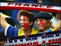 French fans at the opening match of the Rugby World Cup between France and Argentina