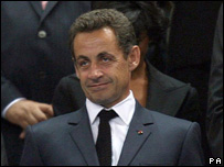 Nicolas Sarkozy looks on during the opening ceremony of the rugby World Cup