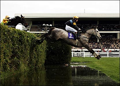 Jump To It, ridden by Joanne Rathbone, jumps a fence