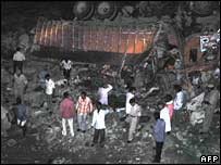 The wreckage of the lorry in the western Indian state of Rajasthan