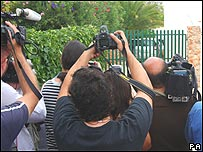 Photographers waiting outside the McCann's villa