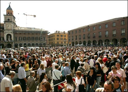 Crowds outside Modena cathedral