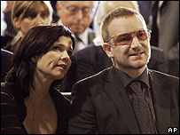 U2's Bono and his wife Ali Hewson