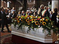 The coffin of Luciano Pavarotti
