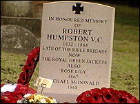 Grave of Victoria Cross winner Private Robert Humpston