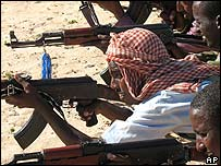 Somalis are trained how to handle assault rifles (file photo)
