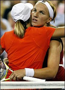 Justine Henin and Svetlana Kuznetsova