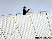 Security officer on the roof of the Sydney Opera House