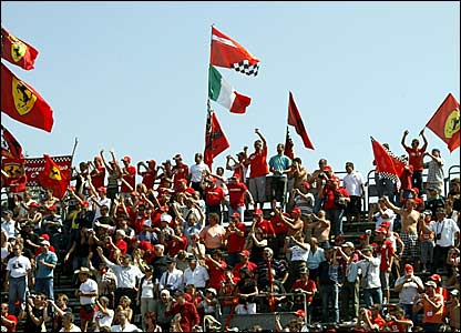 Ferrari fans wait for the start of the Italian Grand Prix at Monza