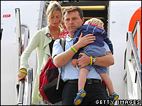 McCanns arriving in Britain