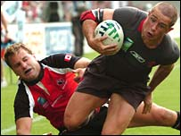 Wales winger Shane Williams scores his first try against Canada