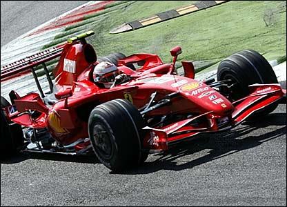 Kimi Raikkonen driving round Monza