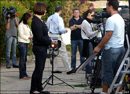 Media outside the McCann's villa in Portugal