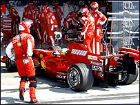 Felipe Massa retires his Ferrari from the Italian Grand Prix