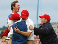 The US team celebrate winning the Walker Cup