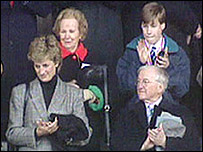 Sir Tasker with Princess Diana and Prince William at a rugby game