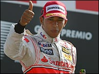 Lewis Hamilton gives the thumbs up to the crowd after finishing second in the Italian Grand Prix